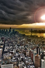 Preview iPhone wallpaper New York, city top view, buildings, sunset, clouds, river, USA