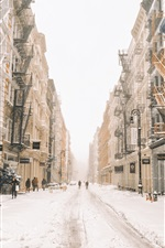 Preview iPhone wallpaper New York in winter, snow, street, buildings, USA