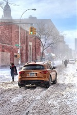 Preview iPhone wallpaper New York, winter, thick snow, road, city, cars, buildings, cold, USA