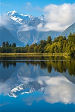 Preview iPhone wallpaper New Zealand, lake, water reflection, mountains, trees, clouds