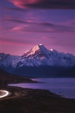 Preview iPhone wallpaper New Zealand, road, light, mountains, sea, night