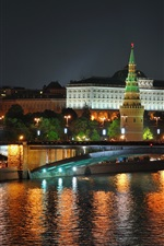 Preview iPhone wallpaper Night, Moscow, city, river, bridge, lights, Russia