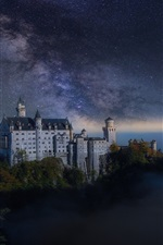 Night, castle, starry, mist, Germany
