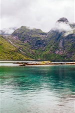 Preview iPhone wallpaper Nordland, Norway, Lofoten, fjord, mountains, clouds