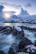 Preview iPhone wallpaper Nordland, Norway, Lofoten, sea, winter, snow, sunset