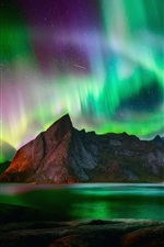 Preview iPhone wallpaper Northern lights, beautiful night, mountains, lake, starry