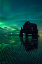 Preview iPhone wallpaper Northern lights, night, sea, rocks