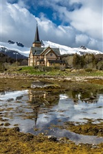 Preview iPhone wallpaper Norway, Lofoten Cathedral, pond, mountains, snow, clouds