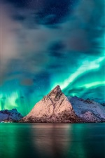 Preview iPhone wallpaper Norway, Nordland, sea, mountains, northlight, beautiful night