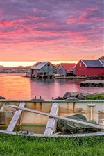 Preview iPhone wallpaper Norway, Rogaland, boat, red clouds, houses, sunset