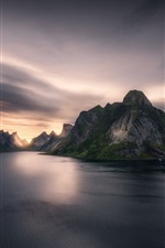Preview iPhone wallpaper Norway, fjord, mountains, sea, clouds, sunset