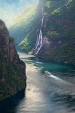 Preview iPhone wallpaper Norway, fjord, mountains, ship, beautiful landscape