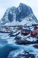 Preview iPhone wallpaper Norway, mountains, rocks, village, snow, winter, sea