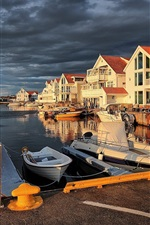 Preview iPhone wallpaper Norway, pier, Akrehamn, boats, clouds