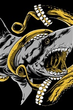 Preview iPhone wallpaper Octopus and shark battle, art drawing