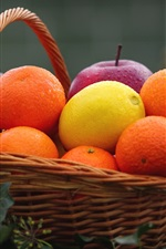 Preview iPhone wallpaper One basket of fruit, apple, lemon, orange, citrus