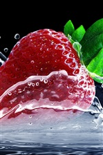 Preview iPhone wallpaper One red strawberry, water splash