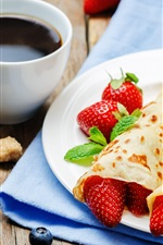 Preview iPhone wallpaper Pancake rolls, strawberry, blueberries, coffee