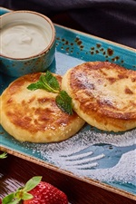 Preview iPhone wallpaper Pancake, sour cream, jam, lemon, blueberry, strawberry, breakfast