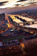 Preview iPhone wallpaper Paris, skyscrapers, river, bridge, lights, dusk, France
