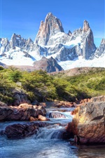Preview iPhone wallpaper Patagonia, snow, mountains, stones, river, South America