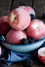 Preview iPhone wallpaper Peaches, blackberries, fruit, bowl