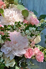 Preview iPhone wallpaper Peonies and roses, bouquet flowers