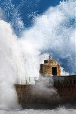 Preview iPhone wallpaper Pier, breakwater, sea waves splash