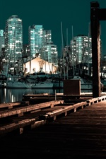 Preview iPhone wallpaper Pier, night, boats, buildings, city, lights
