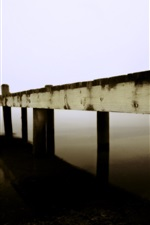 Preview iPhone wallpaper Pier, wood, lake, boats, fog, morning