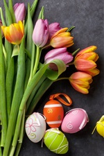 Preview iPhone wallpaper Pink and orange tulips, colorful eggs