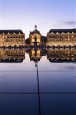Preview iPhone wallpaper Place de la bourse, Bordeaux, France, night, lights, buildings