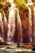 Preview iPhone wallpaper Plitvice National Park, waterfall, Croatia