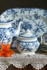 Preview iPhone wallpaper Porcelain, tea set, cups, kettle