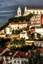 Preview iPhone wallpaper Prazeres, Lisbon, Portugal, city, houses, dusk