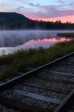 Railroad, river, grass, fog, morning