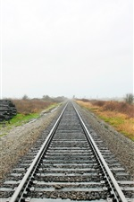 Preview iPhone wallpaper Railroad, track, grass