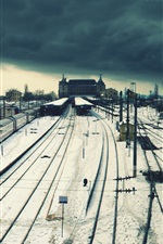 Preview iPhone wallpaper Railway station, train, wire, town, snow, winter