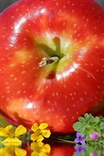 Preview iPhone wallpaper Red apple and flowers, fruit