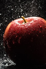 Preview iPhone wallpaper Red apple, rain, water drops