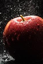 Red apple, rain, water drops
