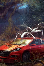Preview iPhone wallpaper Red car and cyborgs, forest, creative design