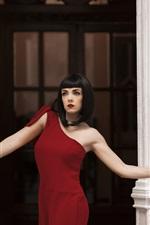Red dress girl open the door