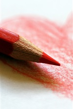 Preview iPhone wallpaper Red love heart, drawing, colored pencil
