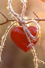 iPhone обои Красное сердце любви, веревка, веточки