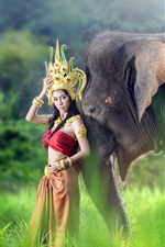 Preview iPhone wallpaper Red skirt Asian girl and elephant