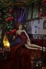 Preview iPhone wallpaper Red skirt girl, bed, pose, roses, apples, lamp