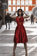 Preview iPhone wallpaper Red skirt girl stand at city street, sunglasses