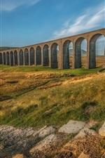 Ribblehead Viaduct, arch, path, grass, autumn, England