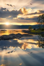 Preview iPhone wallpaper Ringerike, Norway, lake, trees, clouds, sunset